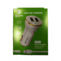 BKMAX CR102 CARGADOR DE COCHE CON CABLE MICRO USB 2.4A 2USB