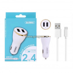 CR107 CARGADOR DE COCHE CON CABLE TYPE-C 2USB  2.4A