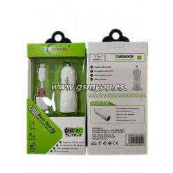 BLC004 ADAPTADOR DE COCHE 2USB 2.4A+CABLE MICRO USB BLANCO