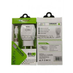 BLC033 ADAPTADOR 2USB 3.1A+CABLE TYPE-C BLANCO
