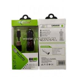 BLC003 ADAPTADOR DE COCHE 2USB 2.4A+CABLE MICRO USB NEGRO
