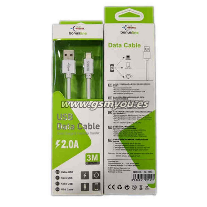 BL109 DATO CABLE LIGHTNING 2.0A 3M BLANCO