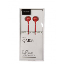 QCY QM05 AURICULAR CON CABLE MICROFONO ROJO